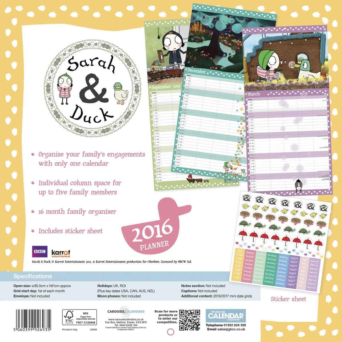 sarah duck family planner 2015 2016 calendar club uk