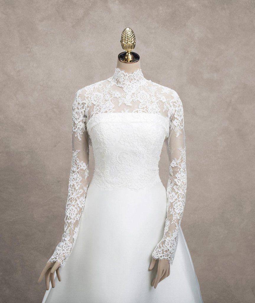 High Neck Elegant Wedding Bridal Long Sleeve Cover-up   Elegant ...