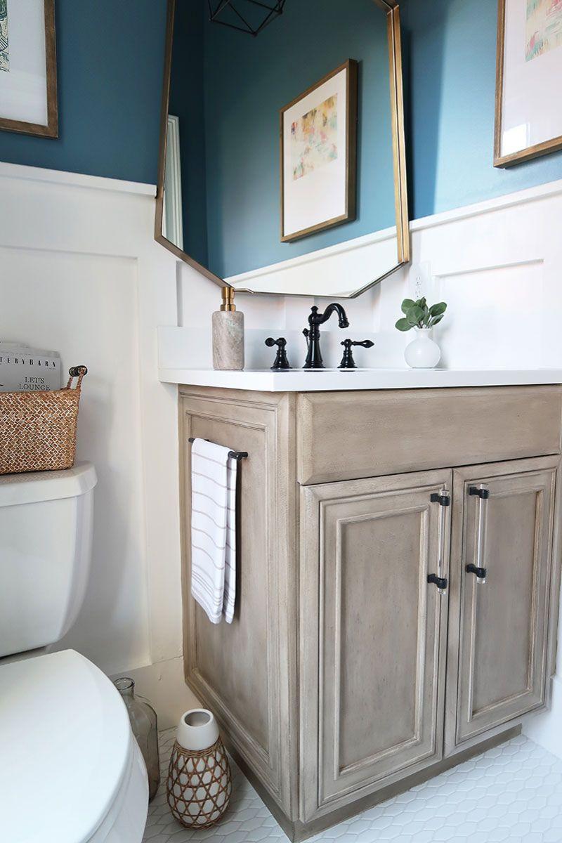 Modern Coastal Powder Room Reveal Painted Vanity Bathroom