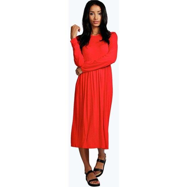 Boohoo Basics Mia Long Sleeve Midi Dress ($20) ❤ liked on Polyvore featuring dresses, orange, long-sleeve maxi dress, sleeve dress, red sleeve dress, red dress and orange long sleeve dress