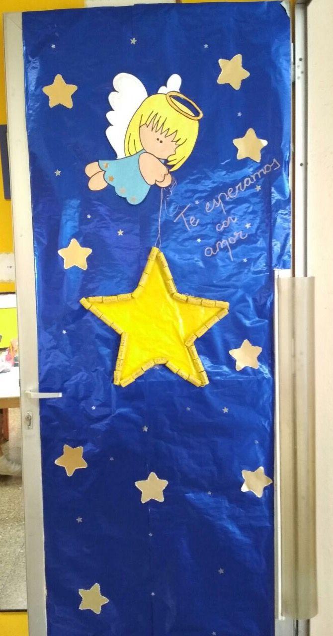 Puerta estrella actividad navidad manualidades navidad for Decoracion puertas navidad