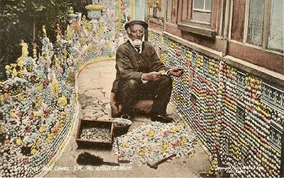 Postcard of Frederick Attrill (d. 1926) working on his shell house, once on the Cambridge Road, East Cowes, Isle of Wight. Sadly, the house no longer exists.