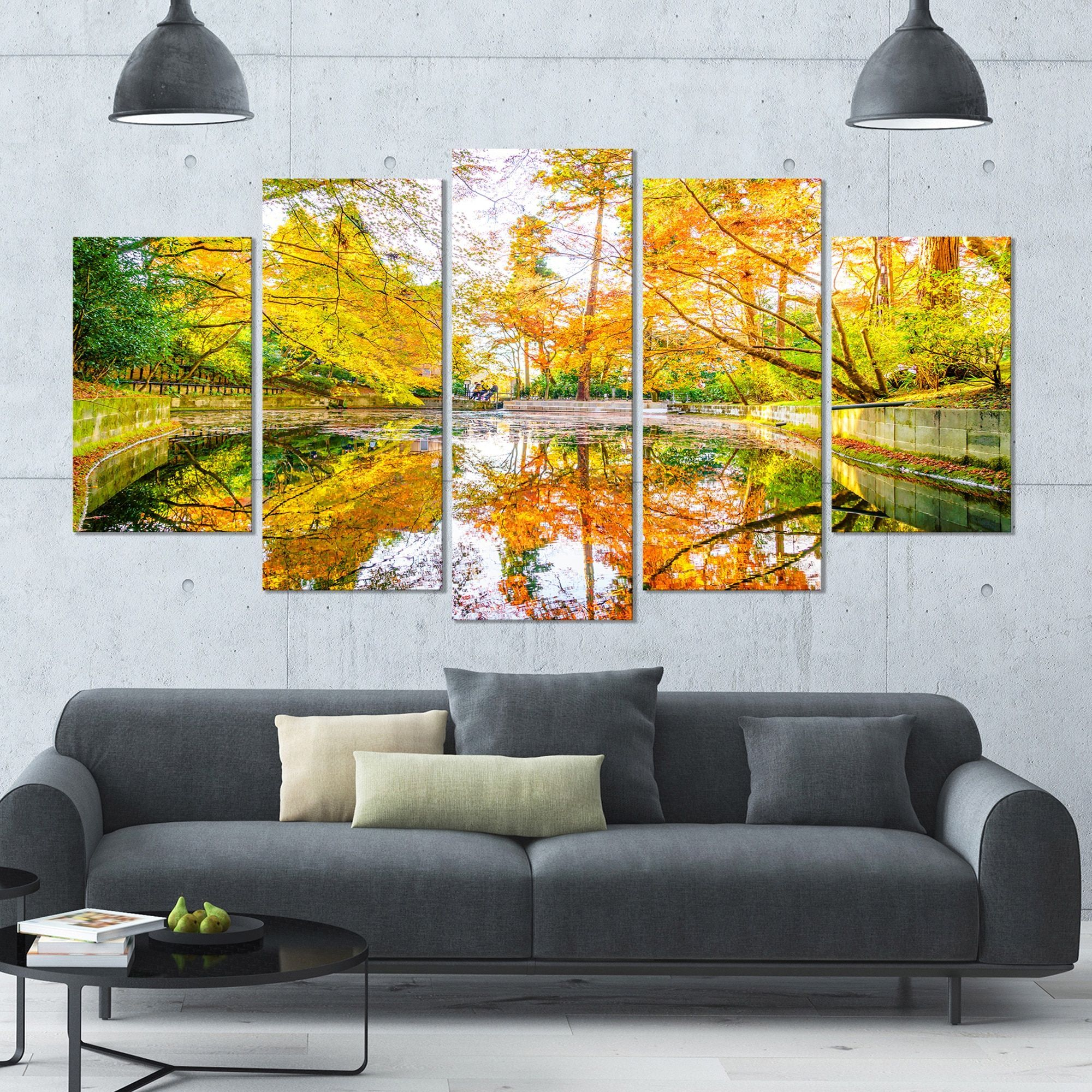 DESIGN ART Designart \'Bright Fall Forest with River\' Landscape Wall ...