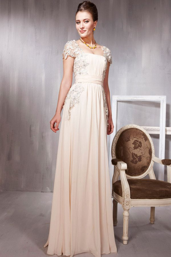 Dress: evening dress, evening dress, long evening dress, beige ...