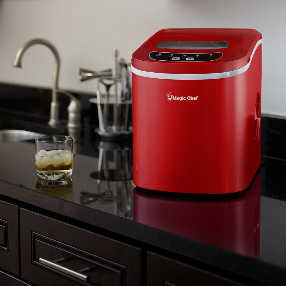 Magic Chef 27 Lb Portable Countertop Ice Maker In Red Mcim22r
