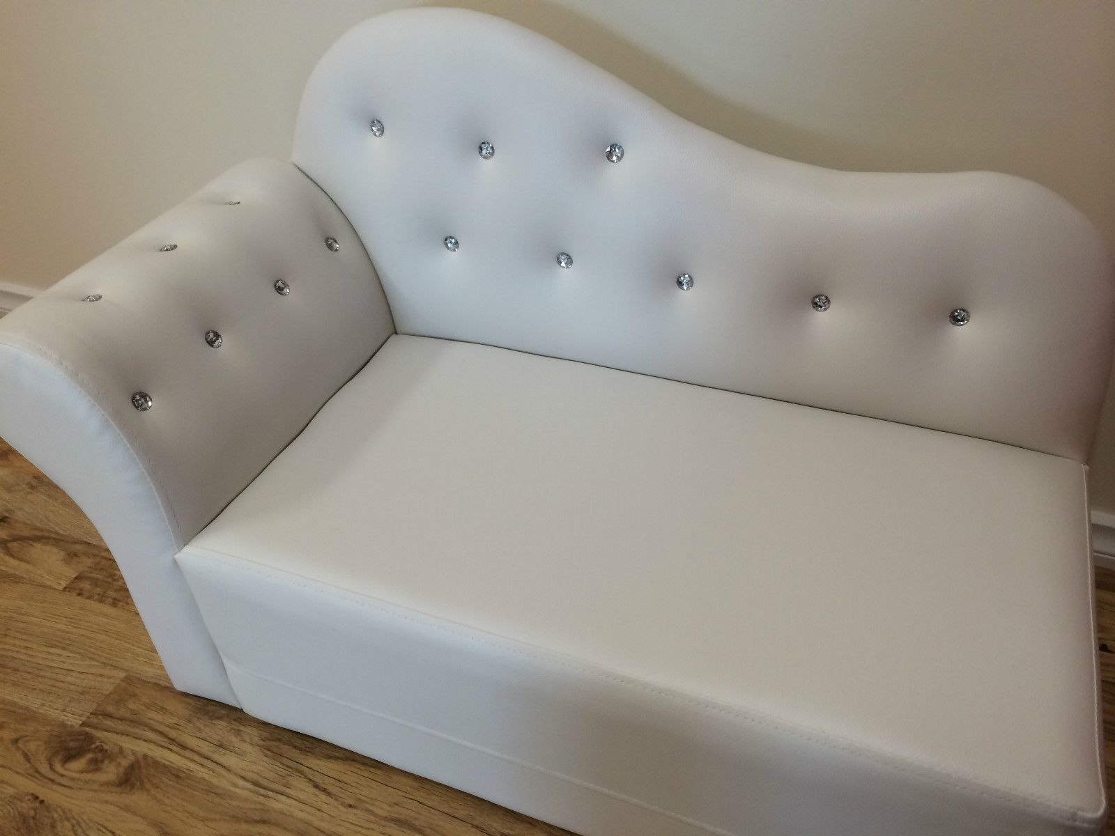 Kids Girls Boys Bed Frame PU Leather Diamond Single Bed Sofa
