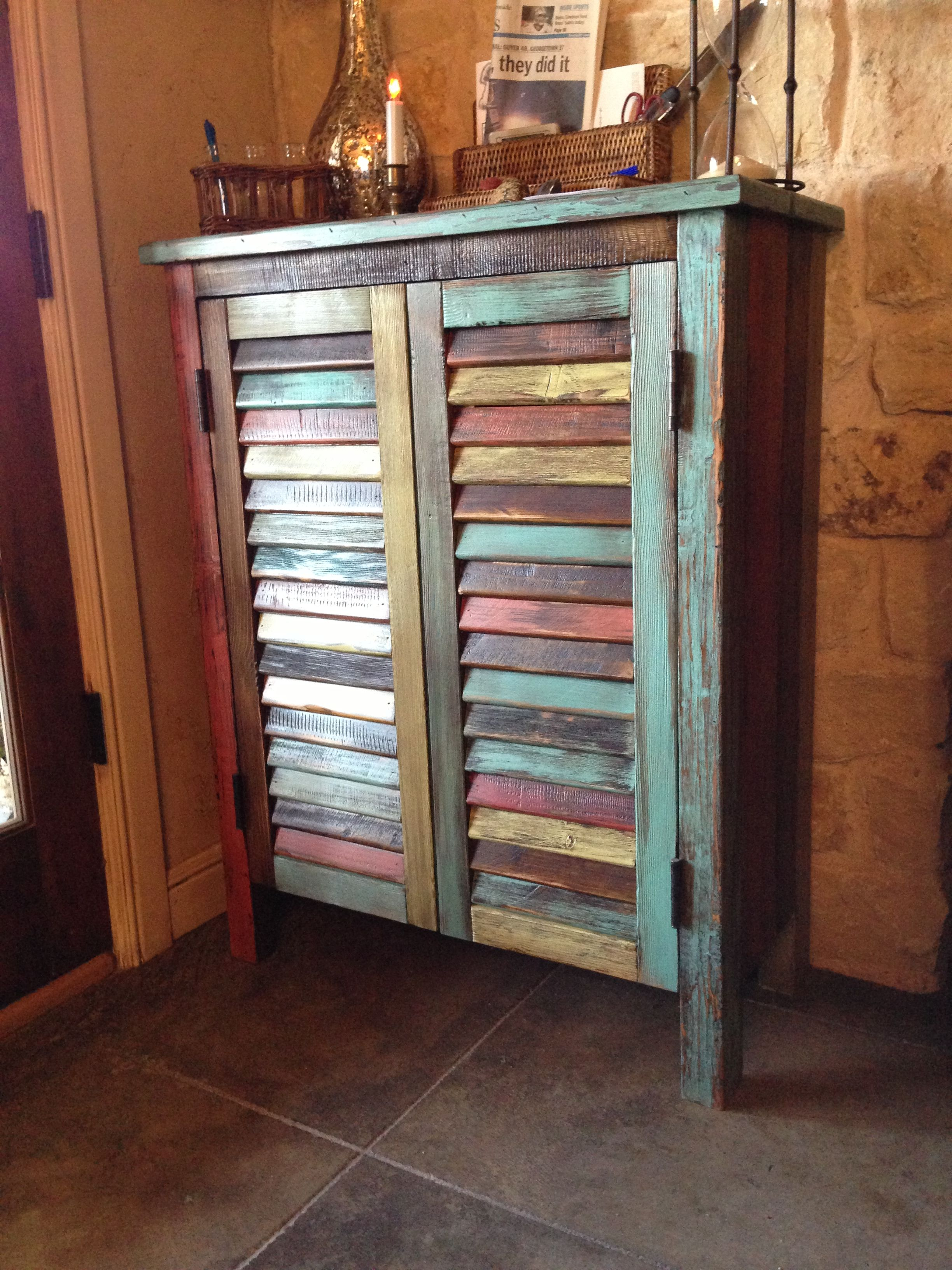 Distressed Rustic Multi Colored Antique Wood Storage