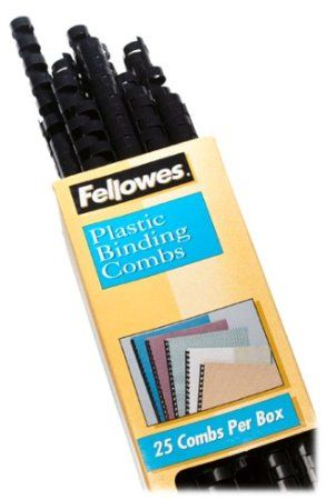 Fellowes Plastic Binding Combs Round Back 1 2 Quot 90 Sheet Capacity Black 25 Pack 52323 Fellowes Binding Machines Binding