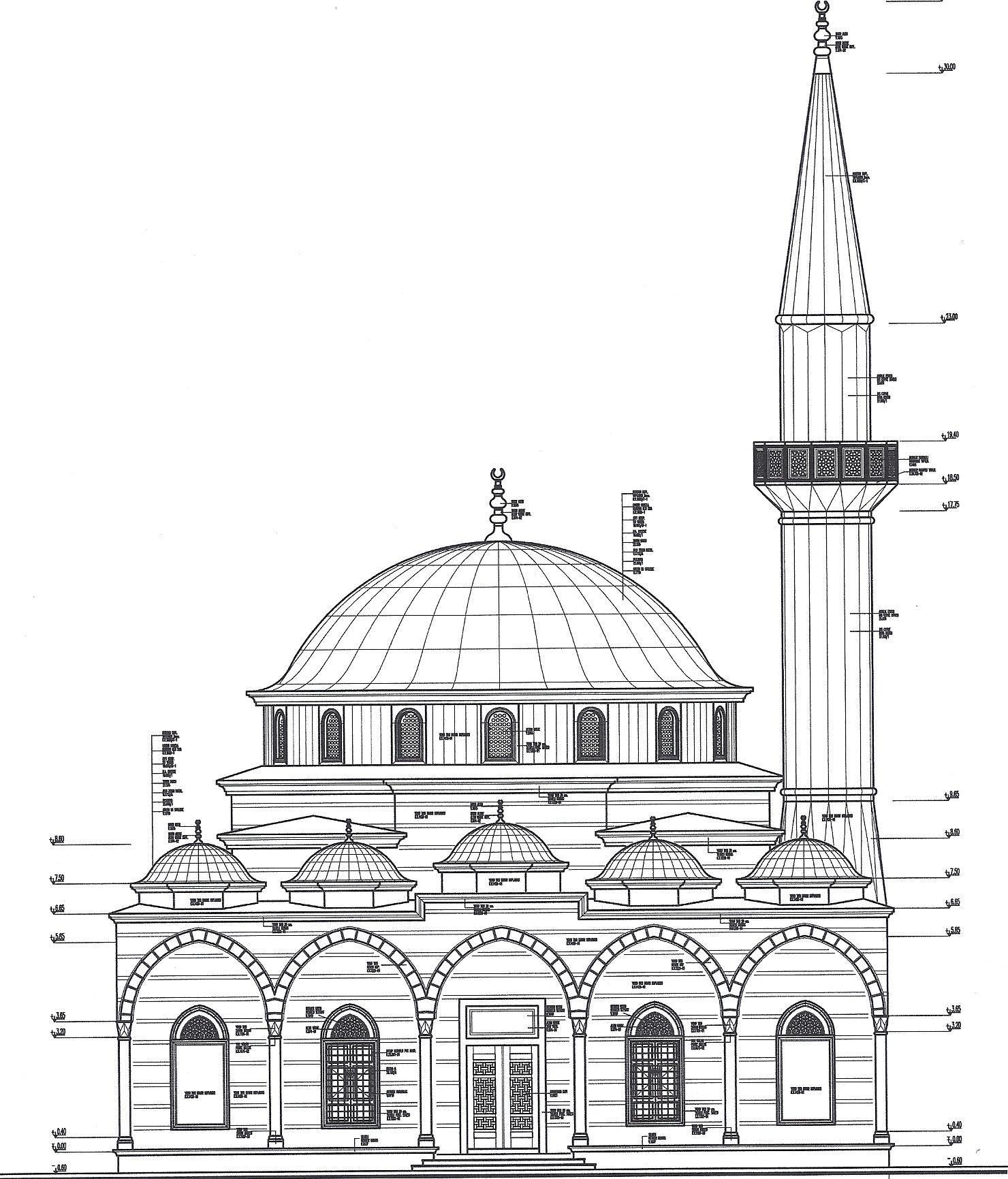 Cami Cizimi 7a193e Jpg 1480 1731 Mimari Cizimler Mimari Cizim Taslaklari Camiler