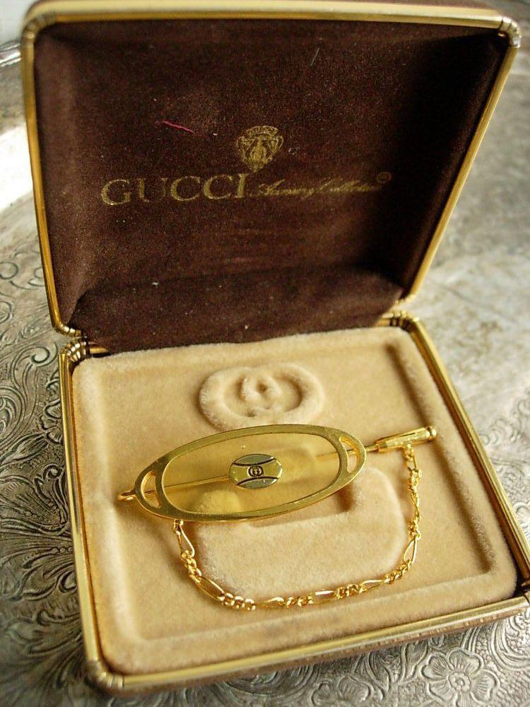 a58a8e36798 Gorgeous RARE Vintage GUCCI Lucite GG Lapel Scarf PIN Jewelry Accessory GG  w box  Gucci  Pin