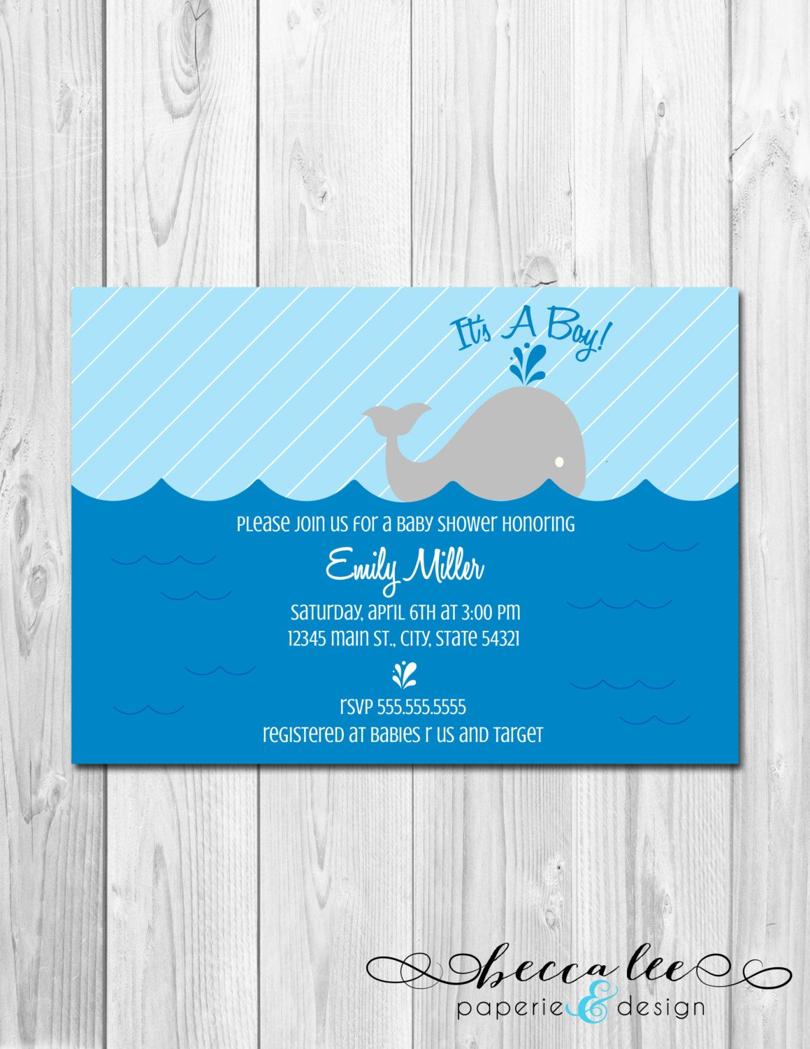 Little Whale Baby Shower Invitation - Baby Blues - DIY - Printable ...