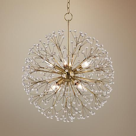 Available In A Stunning Aged Brass Finish Hudson Valleys Dunkirk Chandelier Boasts Starburst Shape