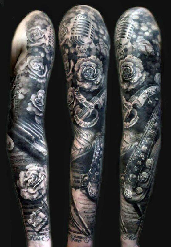60 Music Sleeve Tattoos For Men Lyrical Ink Design Ideas Music Tattoo Sleeves Saxophone Tattoo Music Lover Tattoo