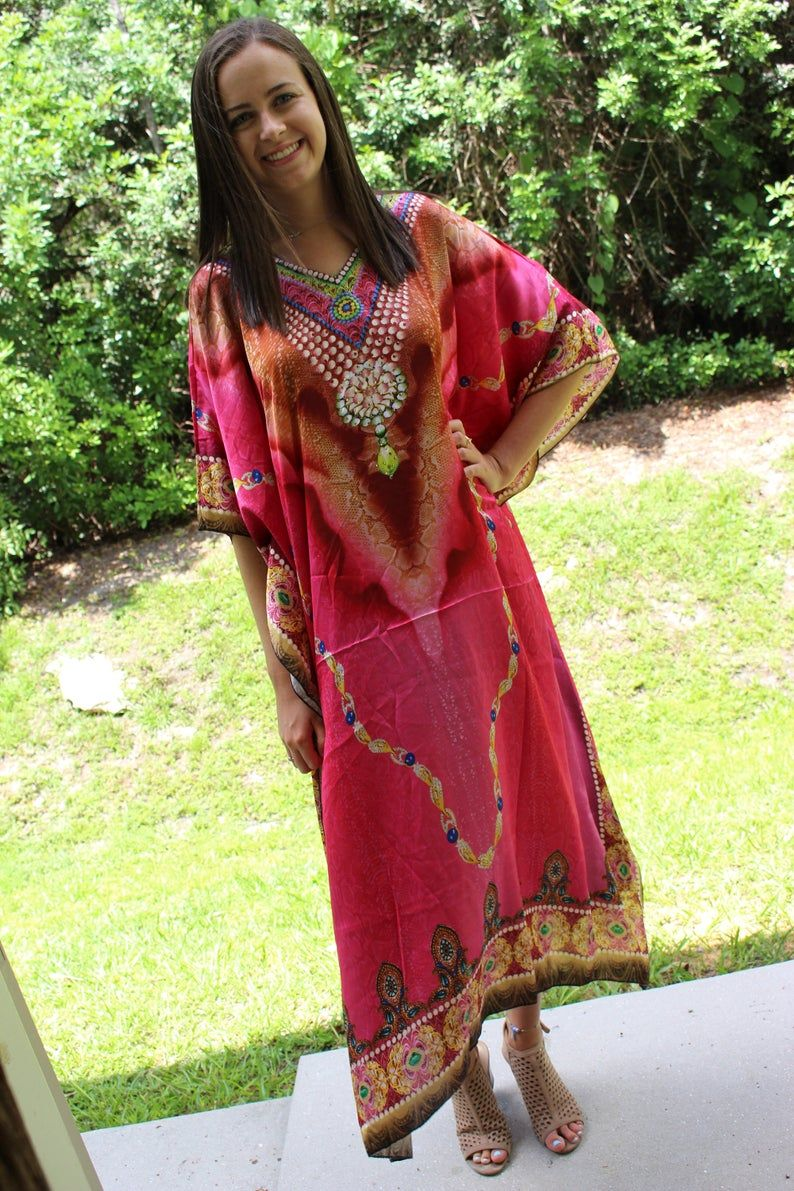 Womens Kaftan Maxi Dress Bohemian Kaftan Resort Wear Pink White Embroidered Long Caftan Dresses 4XL