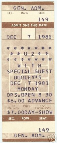 A rather intimate setting for a U2 concert: Dooley's Bar in East Lansing, Michigan, 1981.