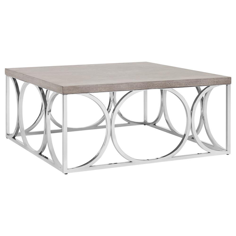 Wood Veneer Coffee Table with Geometric Metal Base/Coffee Tables ...