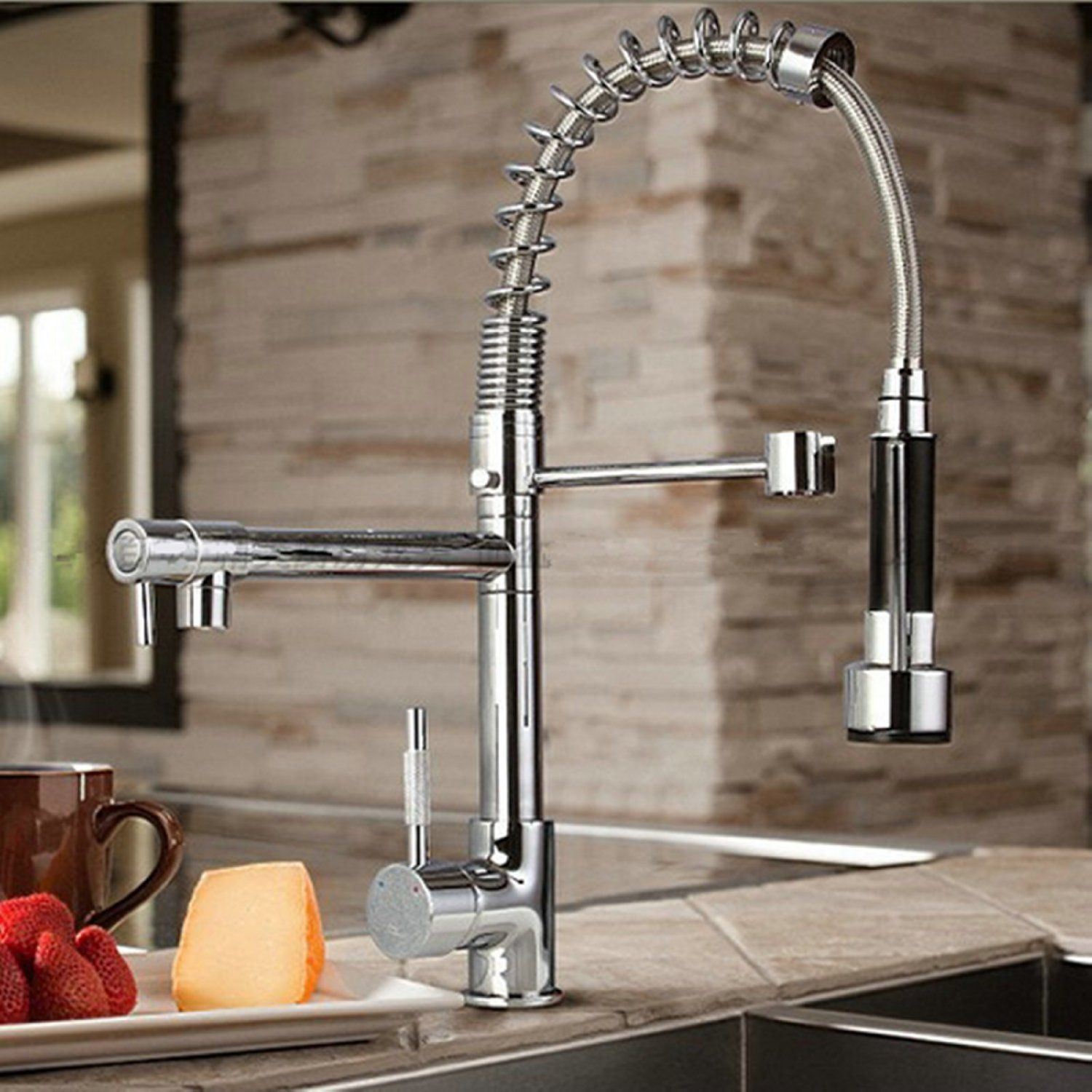 Byb Chrome Modern Designer Single Handle Pull Out Spray Pre Rinse Spring Kitchen Sink Tap