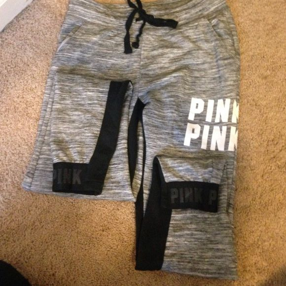 Pink sweat pants Only been worn once! And they are in PERFECT condition PINK Victoria's Secret Pants Track Pants & Joggers