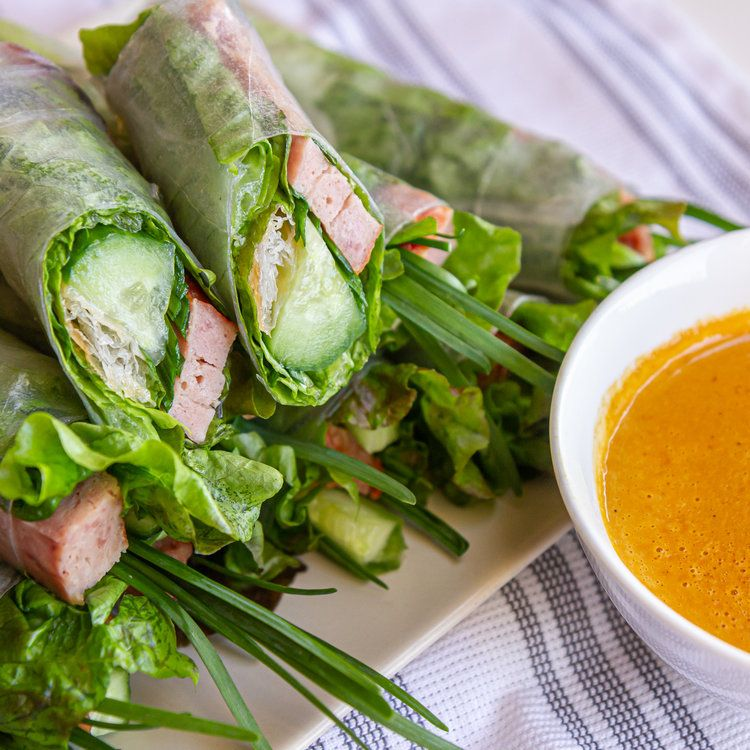 Vietnamese Grilled/Baked Pork Sausage Spring Rolls with Orange Dipping Sauce (Nem Nuong Nha Trang) — Vietnamese Home Cooking Recipes