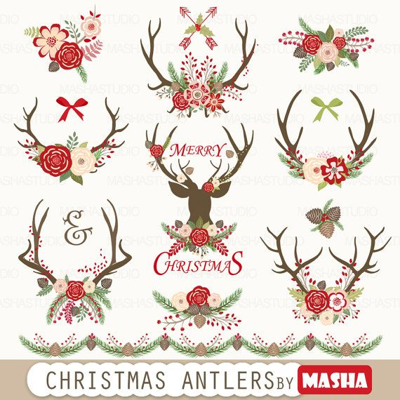 Christmas Clipart Christmas Antlers With Antler Etsy Christmas Clipart Antler Christmas Christmas Floral