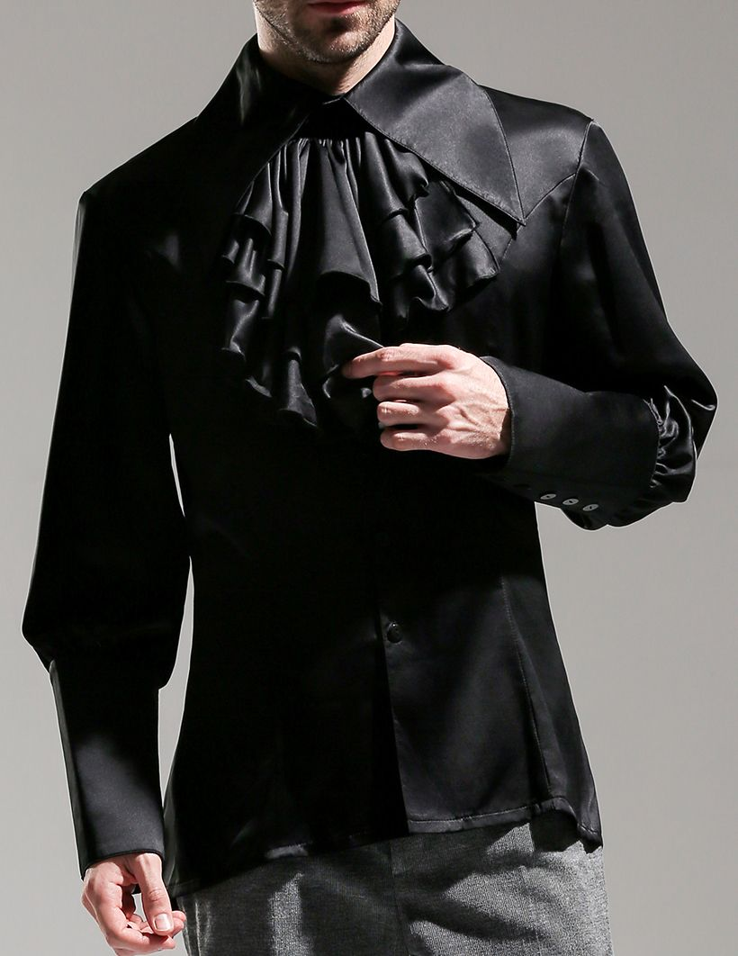 Vintage long sleeve shirt men dress shirt cravat set black white