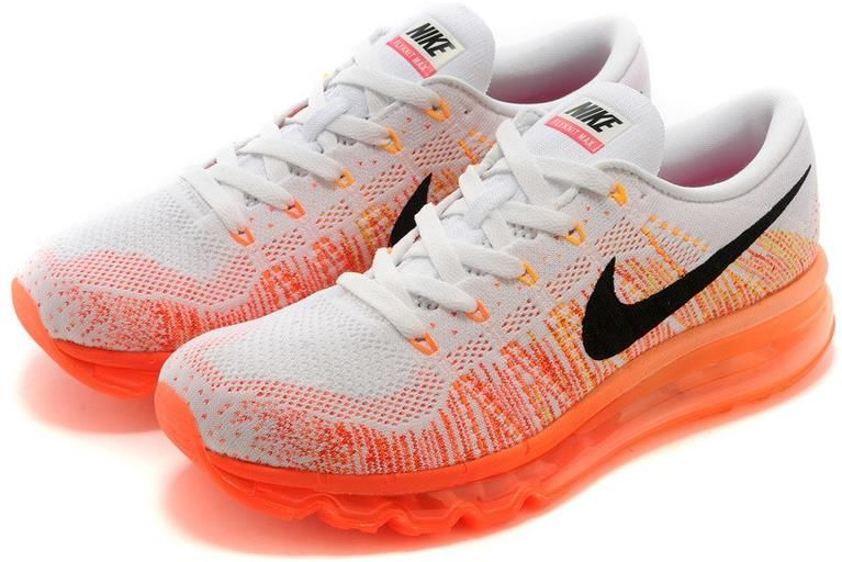 Nike Flyknit Air Max Women White Orange Black