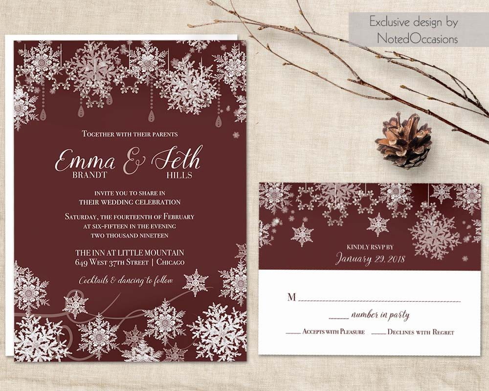 Winter Wedding Invitation Set Snowflake Wedding Marsala Wine Rustic ...