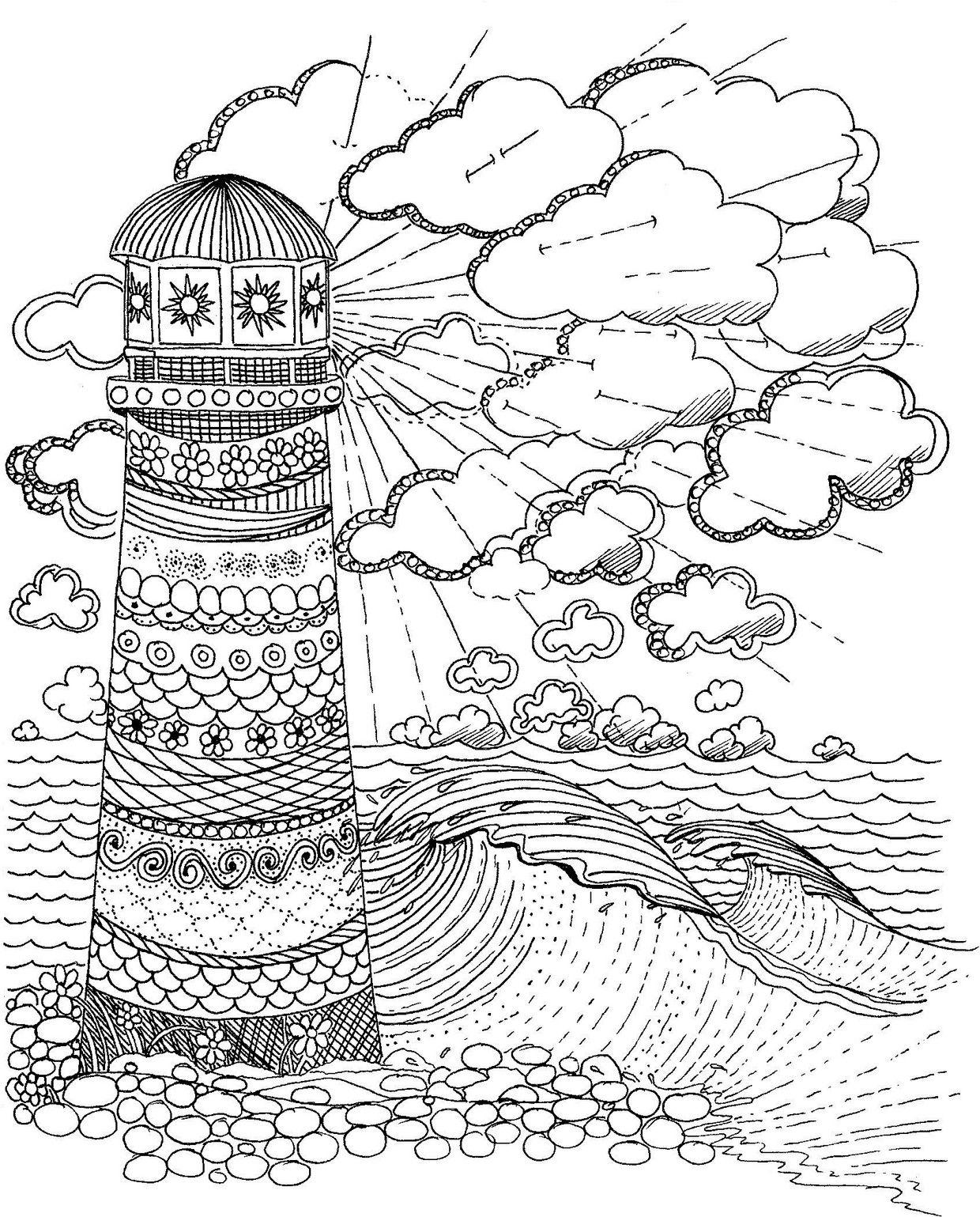 Lighthouse Coloring Page | Colorear, Plantas y Paisajes