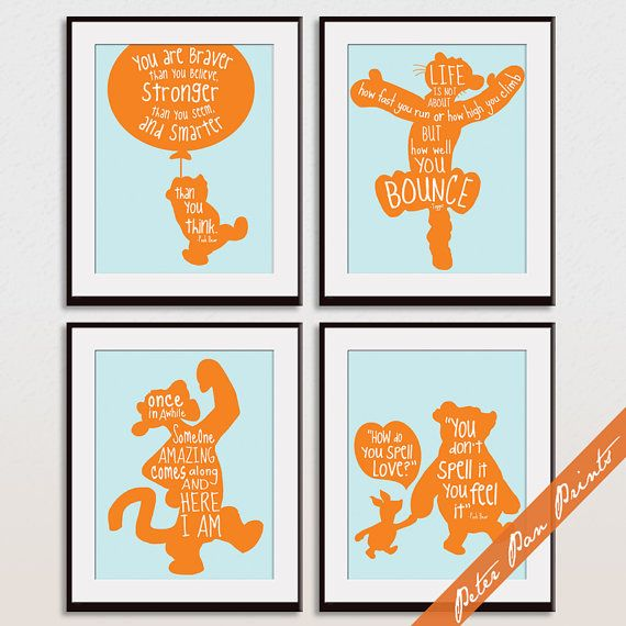 Winnie the Pooh Quotes Set of 4 Art Print by PeterPanPrints
