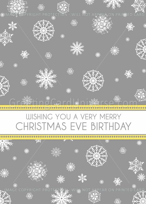 Merry Christmas Eve Birthday Card - Yellow Grey Snowflakes card