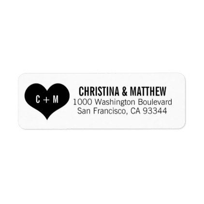 elegant white black heart wedding return address label black