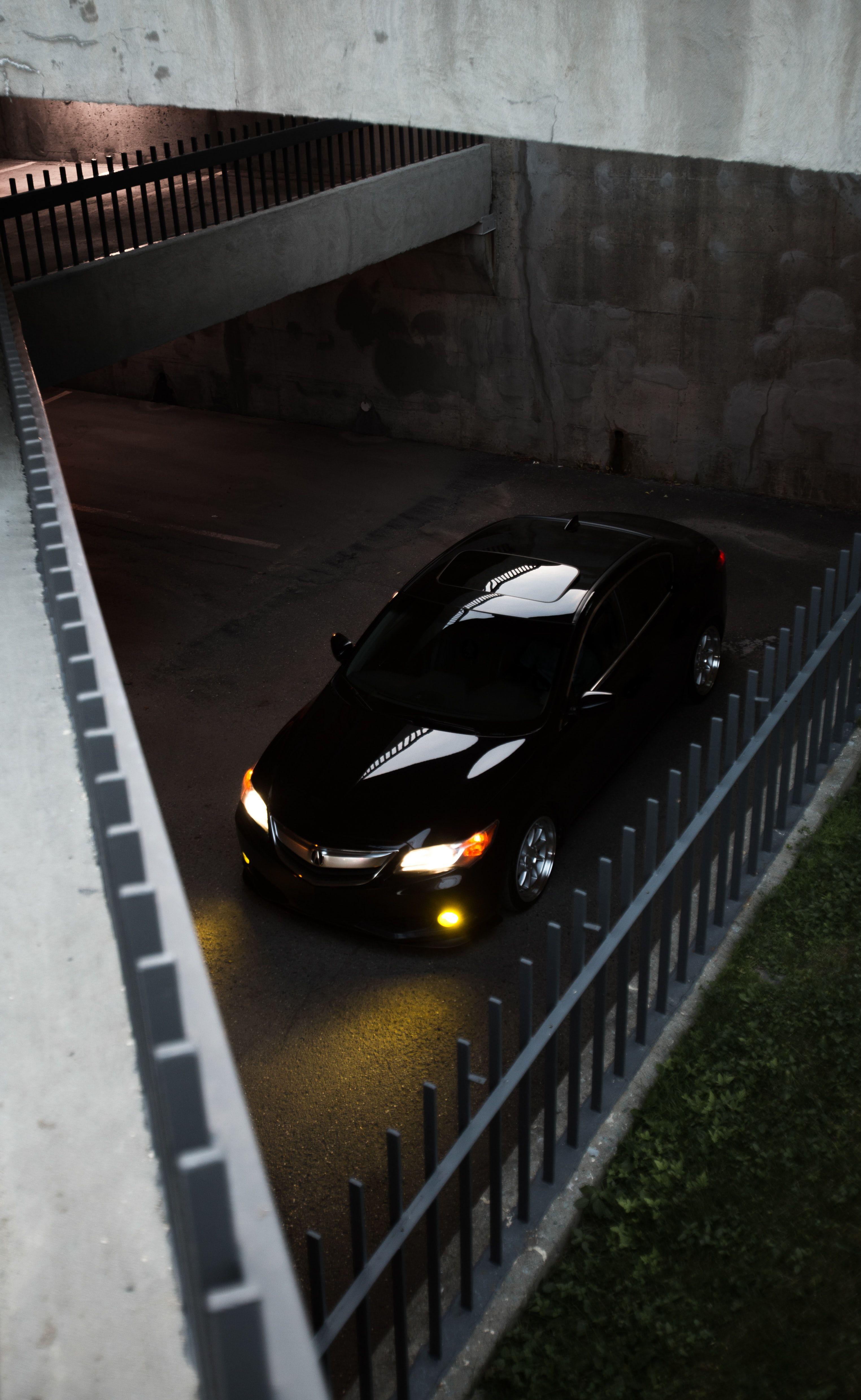 Black Car Parked On Parking Lot Car Parking Car