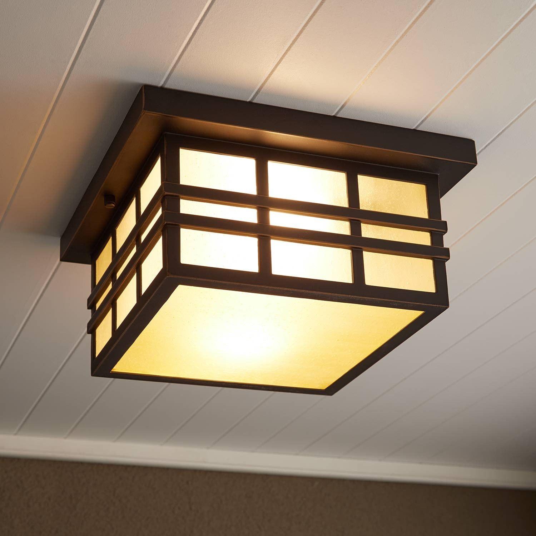 Ambler 2 Light Flush Mount Outdoor Ceiling Fixture Amber Seeded Outdoor Ceiling Lights Ceiling Fixtures Exterior Light Fixtures