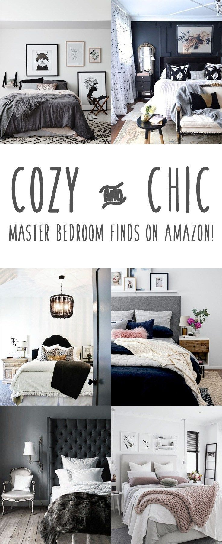 Master bedroom grey and white  Cozy u Chic Bedroom Inspiration from Amazon  Budgeting Cozy and