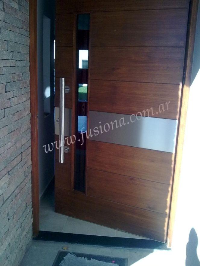 D022 puerta moderna de madera con acero deco pinterest for Puertas de entrada modernas