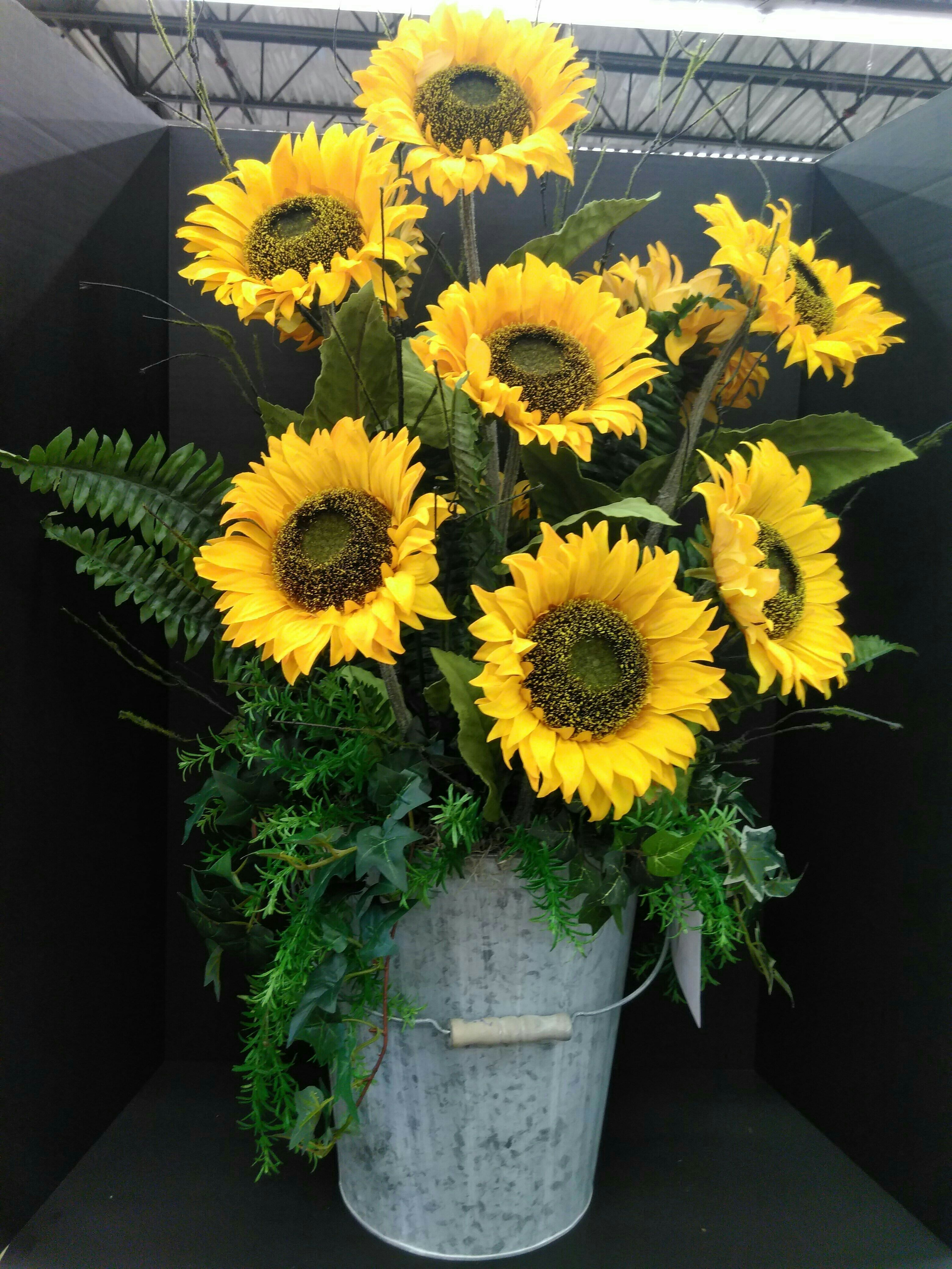 Galvanized Bucket And Sunflower Arrangement By Teresa In Our Voorhees Nj Store Visit Your Sunflower Arrangements Yellow Flower Arrangements Flower Creation