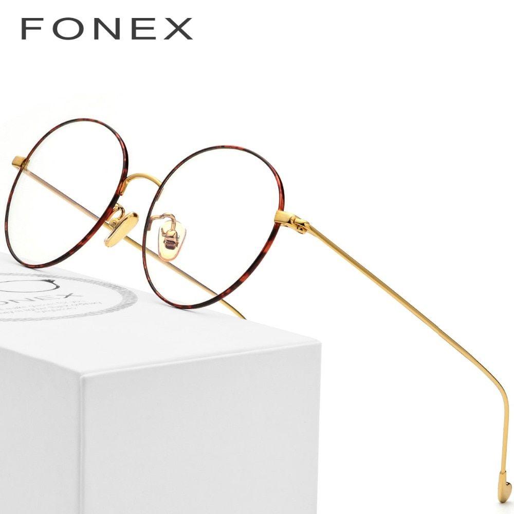 aebf799b5f Pure Titanium Glasses Frame Men Round Prescription Eyeglasses Harry Eyewear  Vintage Potter Myopia Optical Eye Glasses for Women Review