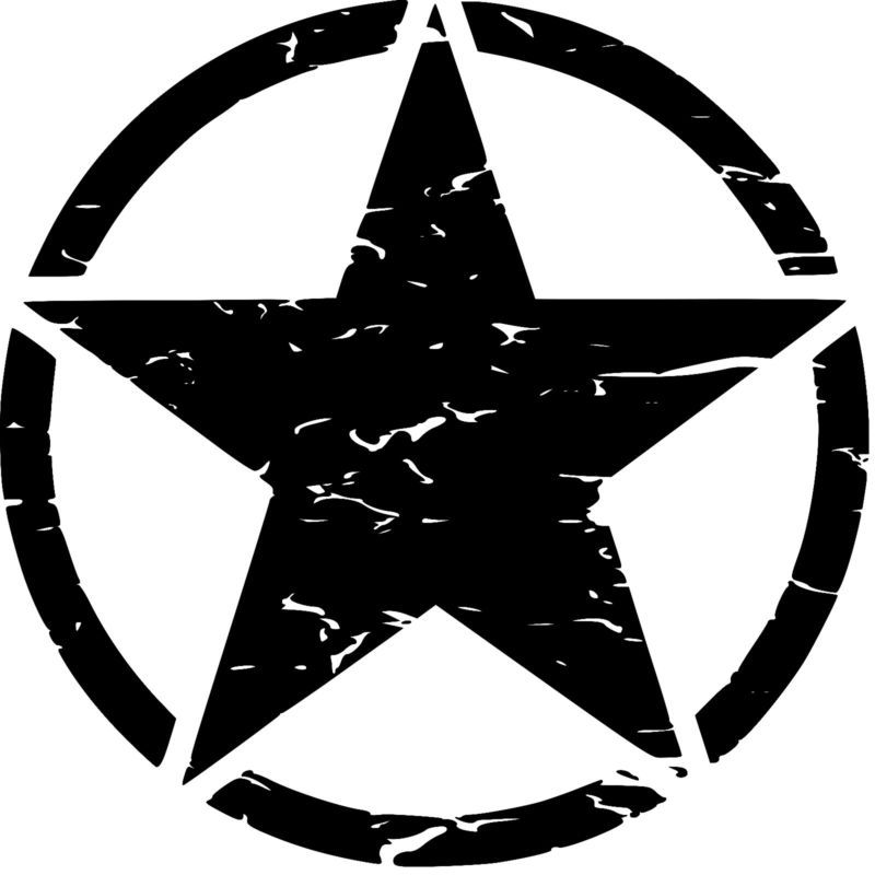 Military Jeep Army Star Circle Skull Hood Decal USMC Willys,Sticker,Truck Gift
