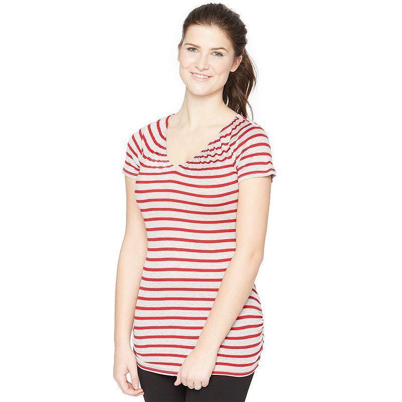 Maternity Oh Baby by Motherhood™ Striped Nursing Tee, Women's, Size: Medium, Red