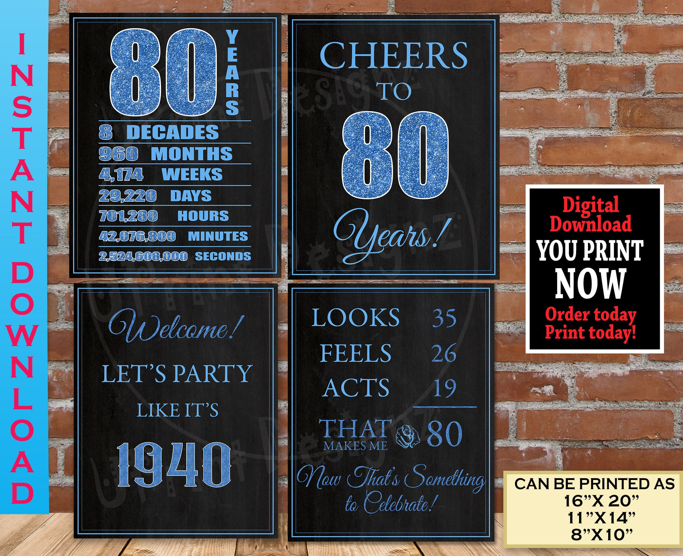 1940 Sign 80th Birthday Poster 80th birthday decorations 80th Birthday PRINTABLE Sign Newspaper Poster 80th birthday gift for women