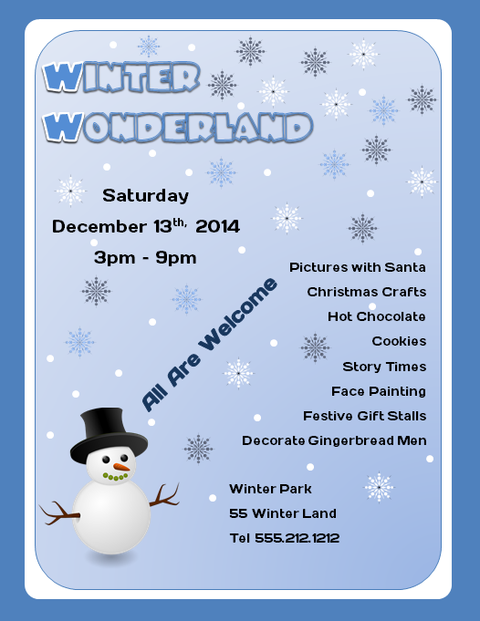Free Winter Wonderland Microsoft Word Flyer Template  Flyertutor