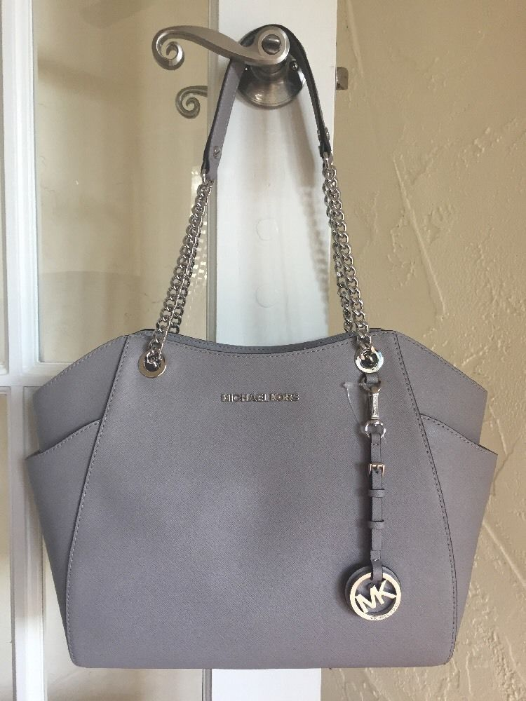 Michael Kors Jet Set Travel Large Chain Shoulder Tote Pearl Grey Leather  c463b89006b5f