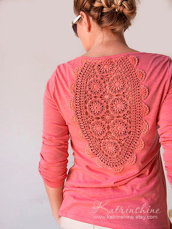 Coral pink long roll-up sleeves t-shirt with upcycled vintage crochet doily back