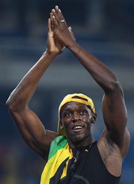 Jamaica's Usain Bolt celebrates after he won the Men's ...