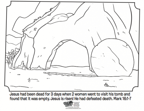 Empty tomb free easter coloring page bible verses from for Grave coloring pages