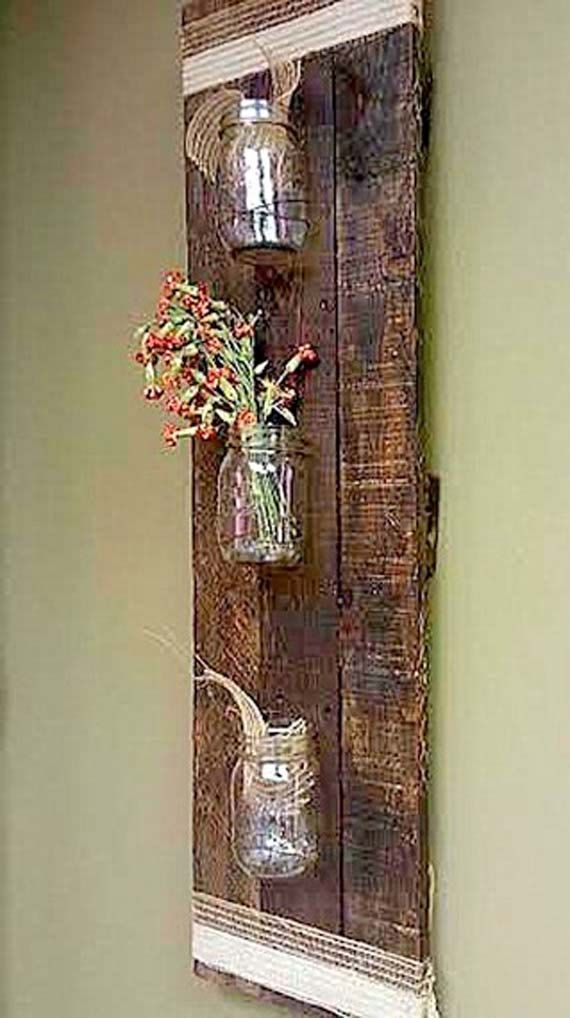 rustic pallet wood mason jar storage wall hanging rack