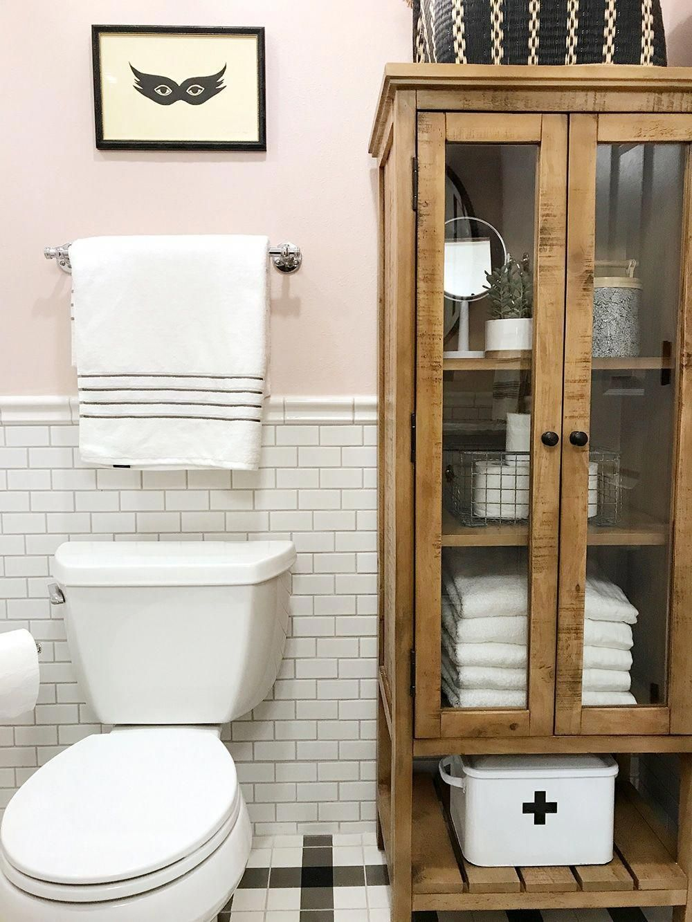 Before And After The Girls Bathroom Is Finished Linen Cabinet Girls Bathroom Barn Bathroom