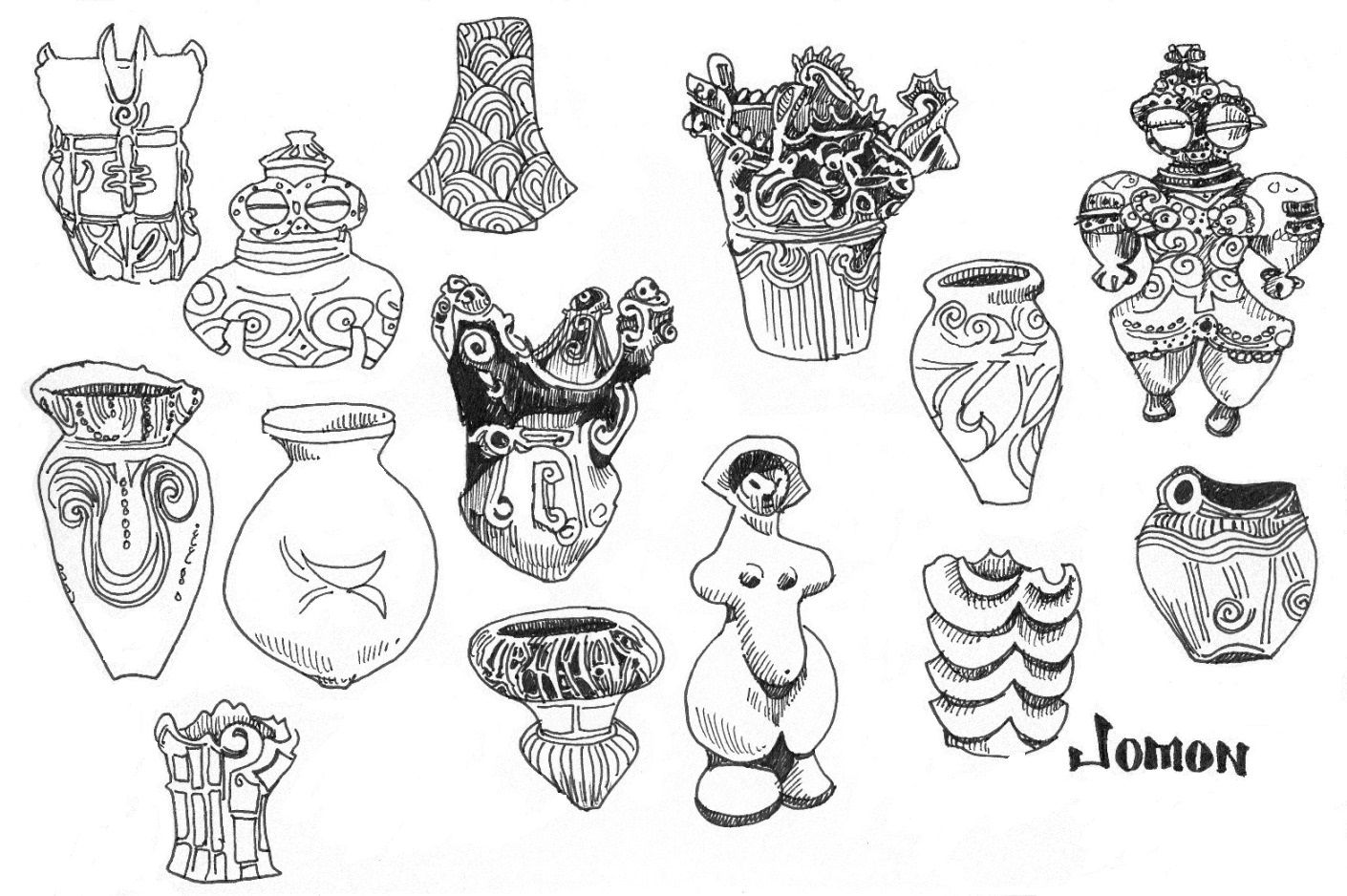 Jomon pottery, marker, 2014 MKSolomon