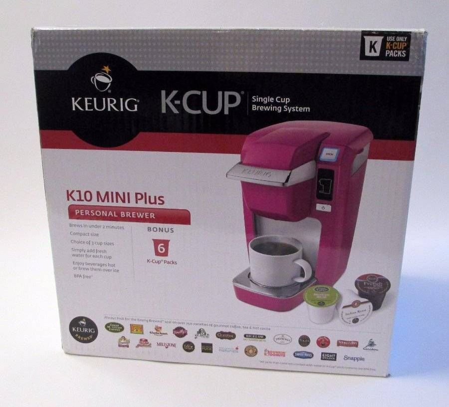 Keurig K Cup K10 Mini Plus Brewer Pink Mauve Raspberry New With 6