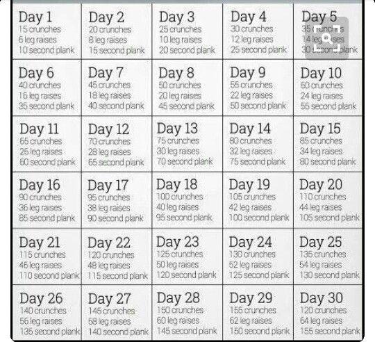 30 Day Challenge Ab ExercisesAb WorkoutsWorkout RoutinesDaily